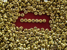 Lovely Round Gold Coloured Acrylic Alphabet Beads A to Z x 4 sets (104 pieces)