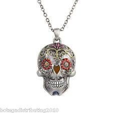 DOD Day Of The Dead Skull Pewter Necklace Dia De Los Muertos Gem Eyes Mexico