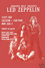 Heavy Metal Rock: Led Zeppelin State Fair Coliseum Concert Poster 1969