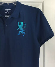 Giordano Men's Blue Tapered Fit Short Sleeved Polo Shirt w/ Big Lion Sz XL New!