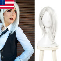OW Overwatch Ashe White Short Side Part Straight Cosplay Wig Women Bob Hair Wigs