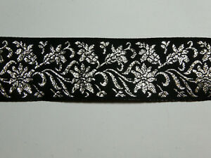 3 METRES Premium Black and Silver Woven Ribbon Trim 40mm TOP SELLER Trimming
