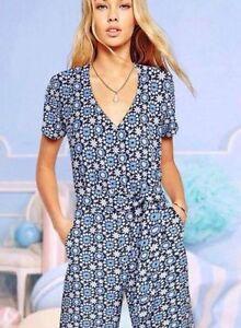 Roem Ladies Blue Belted Floral Short Sleeve Jumpsuit Size Korean Brand