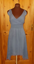 ASOS cornflour slate blue SILK chiffon asymmetric crossover v neck dress 12 40
