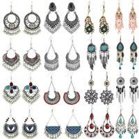 Bohemian Fashion Elegant Silver Long Hook Drop Dangle Tassels Earrings Jewelry