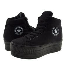 Maxstar Women's C50 Padded Lining Hidden Heel Platform Canvas Sneakers Black
