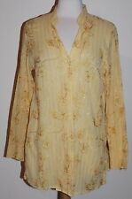 Susan Graver Sheer Yellow Metallic Embroidered 2 Button Front Shirt Top M Medium