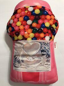 "iscream Gum-ball Machine Shaped Fleece  17"" X 11"" Microwbead Pillow"