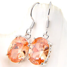 Mother's day Jewelry Gift Flower Honey Natural Morganite Silver Dangle Earrings