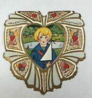 Vintage Die Cut Boy with Sailboat in Heart Valentine's Day Card Whitney Embossed