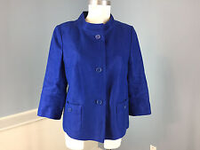 Talbots M 8 Royal Blue Blazer jacket Excellent Career Casual 100% Linen
