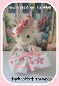 Sylvanian Families Clothes, New  Dress,Hat & Bag For ADULT, Rabbit, Cat, Fox ETC