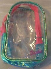 Barbie Clear Plastic Vinyl Green Trim Child's Small Back Pack School (J8 BB1)