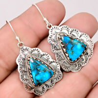 Southwest Style - Silver Blue Turquoise 925 Silver Earrings Jewelry AE16563