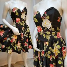 New listing Vintage 80s Expo Strapless Black Garden Party Cotton Dress - Size S