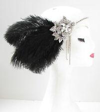 Black & Silver Feather Headpiece Vintage 1920s Flapper Headband Great Gatsby Y31