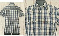 Levis Strauss Mens Shirt Size Small RED TAB Navy Check S/S Cotton NEW Faulty