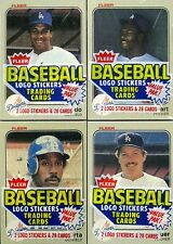 Four 1983 Fleer Baseball Cello Packs - ALL WITH L.A. DODGERS ON TOP - NM-MT