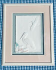 Framed & Signed Pressed Embossed Cotton Pulp of Pelicans at the Dock