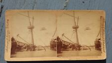 Antique 1898 Stereo View Card Battleship Maine Wreck USMC Spanish American War