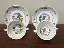 Antique Wedgwood SUMMER TIME Cream Soup Bowl & Saucer Set A7173  ~ Pair