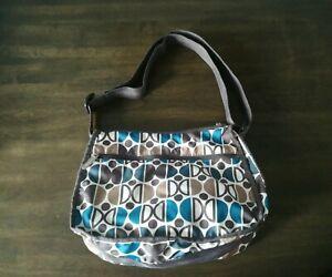 LeSportSac Womens Crossbody Bag Brown Blue Medium Size Geometric Print