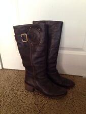 Chloe Brown Leather Buckle Stacked Heel Knee High Boots SZ 39.5 US 9 Moto Design