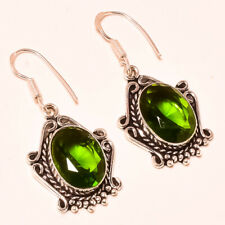 Faceted Peridot Topaz Gemstone 925 Stamped Earring Jewelry 1.8 Inch 3834