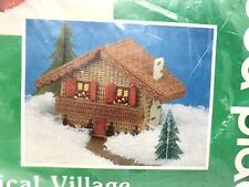 """Mary Maxim Musical Village Needle Craft Kit """"Swiss Chalet"""" 027184 Edel Weiss"""