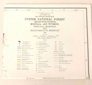 USDA Custer National Forest Beartooth Montana & Wyoming Visitors Map 1986