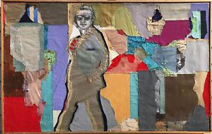 "Original 1985 Benjamin Borax 'COOL' ABSTRACT Collage Vintage Rare 49""x31"""
