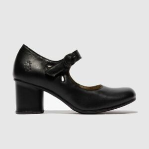 Fly London Sloe Black Leather Ladies Strap Cut Out Mary Jane Shoe