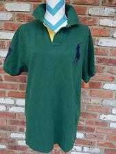 RALPH LAUREN POLO 3 Big Pony XL Shirt Green Custom Fit Blue Rider Yellow Placket