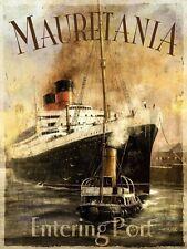 Mauretania RMS Ocean Liner Ship Boat Port Tug Vintage Medium Metal/Tin Sign