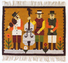 More details for the band vintage 1970s folk art polish textile wall hanging / rug new old stock