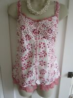 Ladies size 12 Per Una M&S white pink mix spotty strappy sleeveless summer top