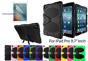 """For iPad Pro 9.7"""" inch Screen Protector/ Heavy Duty Shockproof Kick Stand Case"""