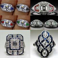 Noble Silver White Topaz & Blue Sapphire Ring Wedding Bridal Women Jewelry 6-11