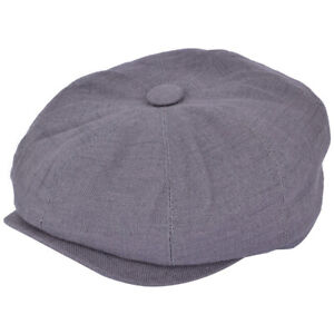 Grey Linen 8 panel bakerboy,newsboy,peaky blinder,cheese cutter 1920s Summer cap