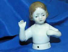 SCARCE VTG ANTIQUE C1890 GERMANY PINCUSHION HALF DOLL, LITTLE GIRL ARMS AWAY