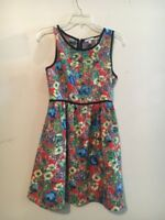 Soprano Yellow Green Blue Floral Flare Girls Kids Sun Dress SIZE M Stylish