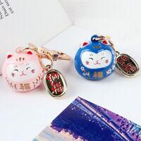Cartoon Japan Lucky Cat Keychain Maneki Neko Trinkets Car Bag Charm Ornaments