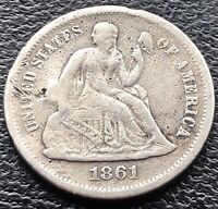 1861 S Seated Liberty Dime 10c San Francisco RARE DATE Better Grade #15096
