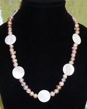 NECKLACE WITH FRESH WATER PEARLS & PEARLESQUE FLAT BEADS