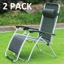 2 X RECLINING SUN LOUNGER OUTDOOR GARDEN FOLDING ZERO GRAVITY CHAIR ADJUSTABLE
