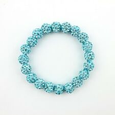 SPARKLY SHAMBALLA STRETCHY TURQUOISE BRACELET- 20 x 10mm  BEADS-CZECH CRYSTAL-UK