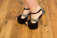 black & white snakeskin open toe T-bar wooden platform heels Asos size 7
