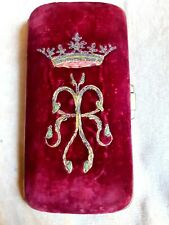 More details for 19th century embroidered velvet spectacles case