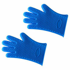 Pair of Silicone Bbq Heat Resistant Gloves Oven Grill Pot Holder Cooking Mitts
