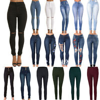 Women High Waist Slim Fit Stretch Skinny Pencil Jeans Casual Jegging Trousers